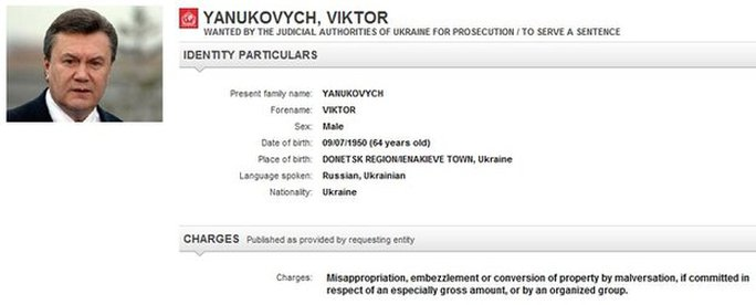 Thông báo truy nã ông Yanukovych trên website của Interpol. Ảnh: BBC