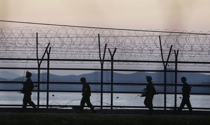 Đường biên giới Hàn Quốc và Triều Tiên ở Paju. Ảnh: AP