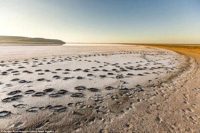 Hồ Koyashskoye cách biển Đen một dải đất mỏng. Ảnh: Caters News Agency