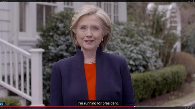 Bà Clinton trong đoạn video thông báo chiến dịch tranh cử hôm 12-4. Ảnh: BBC