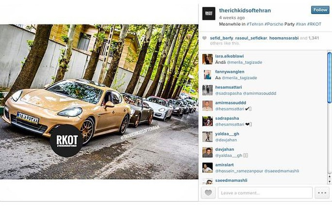 Giới trẻ giàu có ở Iran khoe siêu xe trên mạng xã hội Ảnh: INSTAGRAM