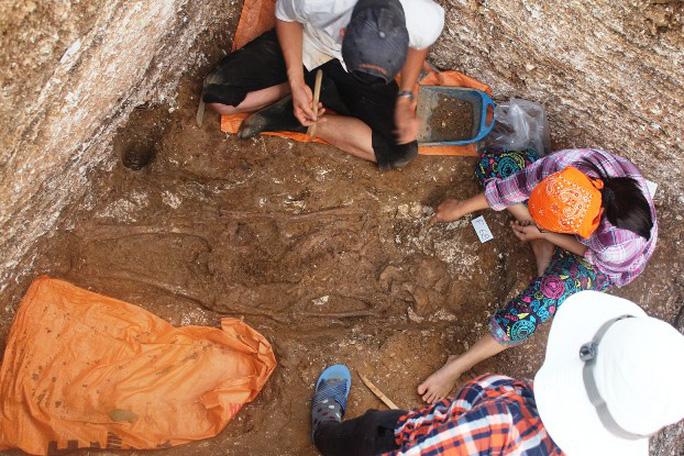 Hiện trường khai quật 3 bộ xương người niên đại khoảng 5.000 năm