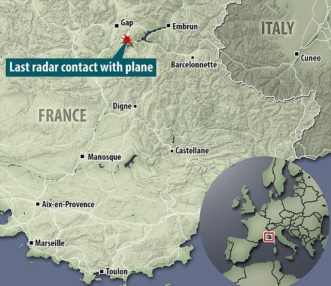 Địa điểm máy bay rơi. Nguồn: Daily Mail
