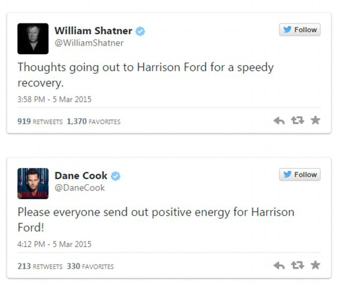 Nhiều người cầu chúc cho Harrison Ford mau khỏe