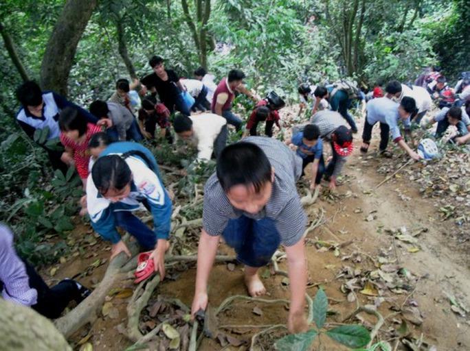 Do nóng lòng muốn được lên sớm nên nhiều du khách liều mình trèo lên các vách núi nghiêng khoảng 30 độ trơn trượt rất nguy hiểm