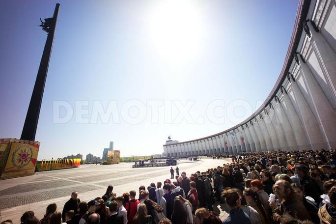 Đông đảo học viên quân sự Nga dự lễ diễu hành ở Poklonnaya Hill, Moscow. Ảnh: Demotix