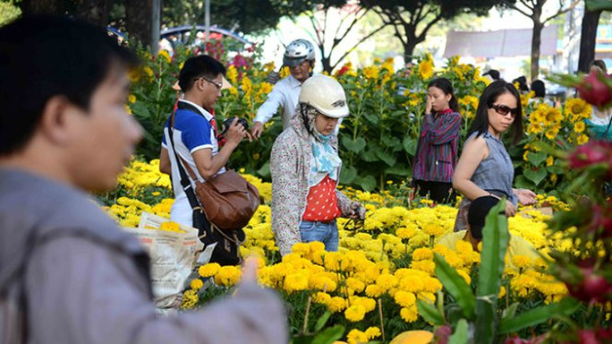 Khách mua hoa tới chợ hoa tại công viên 23-9 nhưng chủ yếu để thăm quan và chụp hình - Ảnh: Thanh Tùng