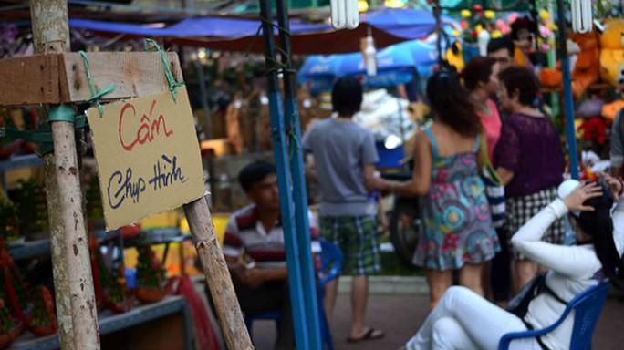 Một cửa hàng hoa tại công viên 23-9 trưng biển cấm chụp hình - Ảnh: Thanh Tùng