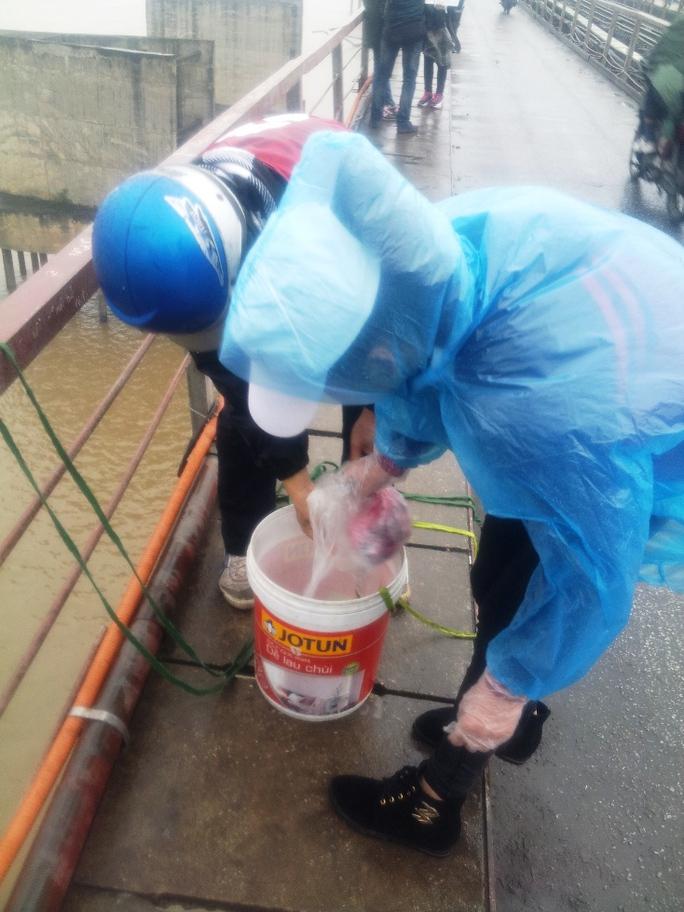 Hà Nội: Dầm mình trong mưa lạnh thu gom túi nilon thả cá chép