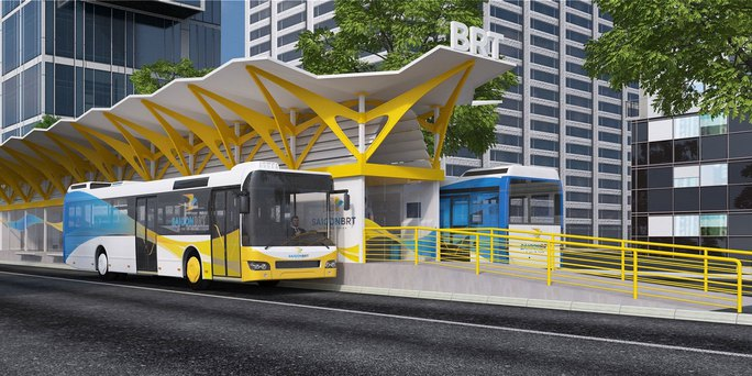 Mô hình xe buýt nhanh sau khi hoàn thành