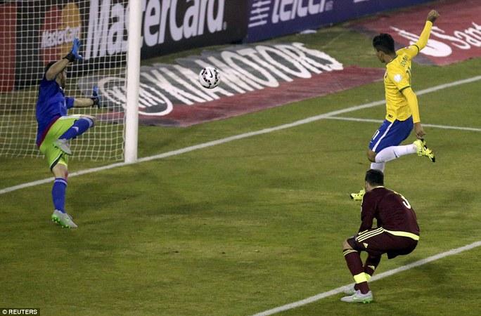 Firmino ghi bàn trong trận Brazil thắng Venezuela 2-1