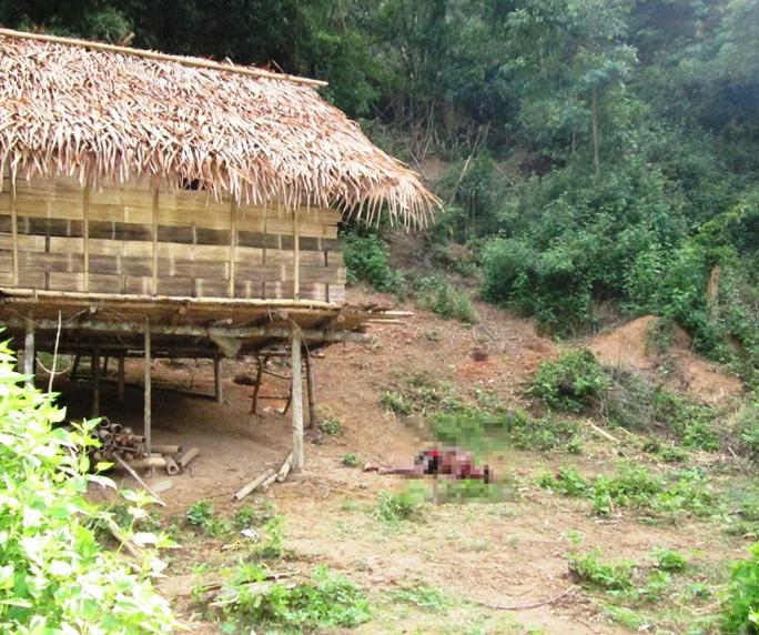 Nạn nhân bị nhiều vết chém nằm chết gần lán ở trong rừng.