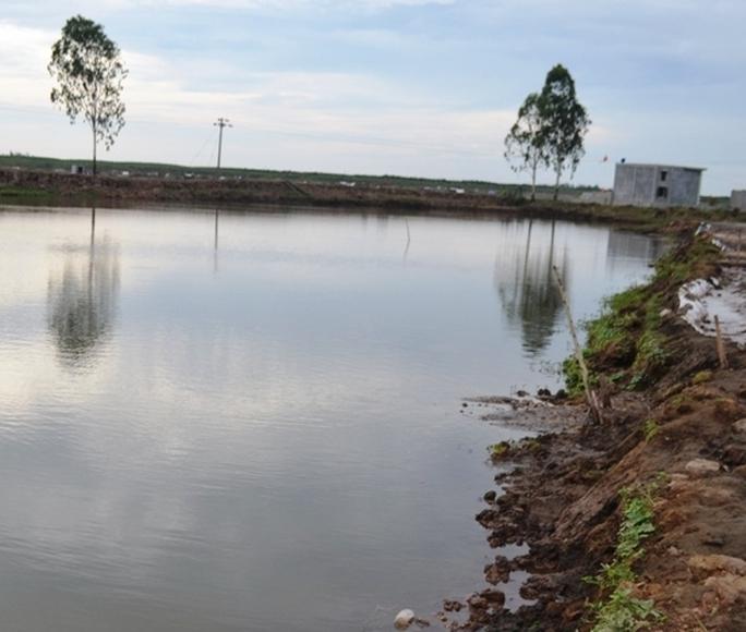 Hồ nuôi tôm nơi hai em Mạnh và Oanh bị đuối nước. Ảnh: Đ. Chung