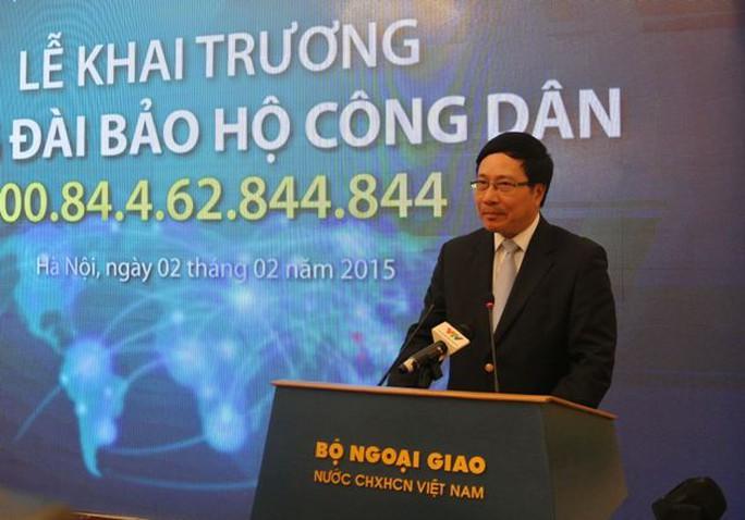 Phó Thủ tướng cho biết khi công dân Việt Nam ra nước ngoài có được số điện thoại này, khi cần thiết có thể liên lạc trực tiếp với tổng đài để có được sự bảo hộ công dân của Nhà nước ta