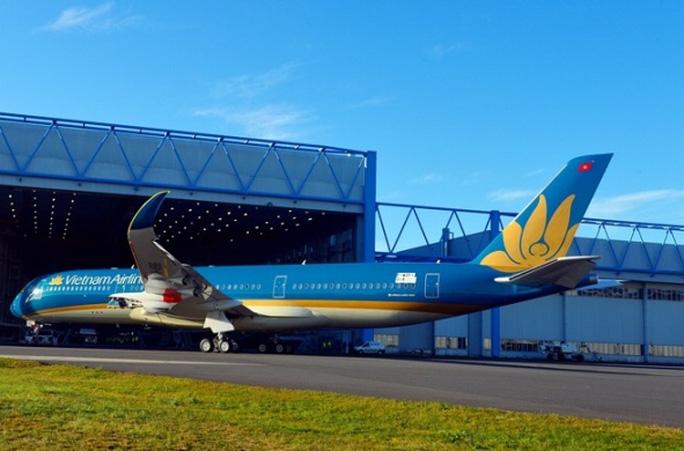 Hình ảnh hoa sen vàng với kích thước lớn bao trùm toàn bộ phần đuôi máy bay