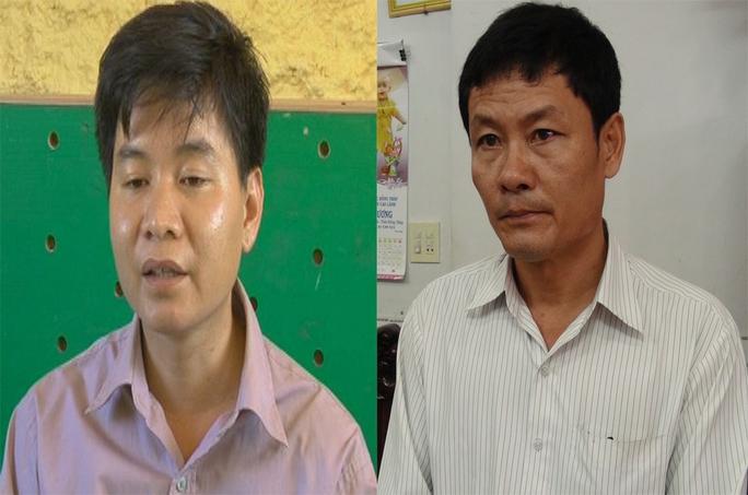 Lê Văn Lập (bên trái) và Phan Văn Lĩnh tại cơ quan điều tra