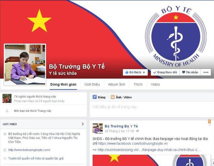 Trang fanpage của Bộ trưởng Bộ Y tế Nguyễn Thị Kim Tiến