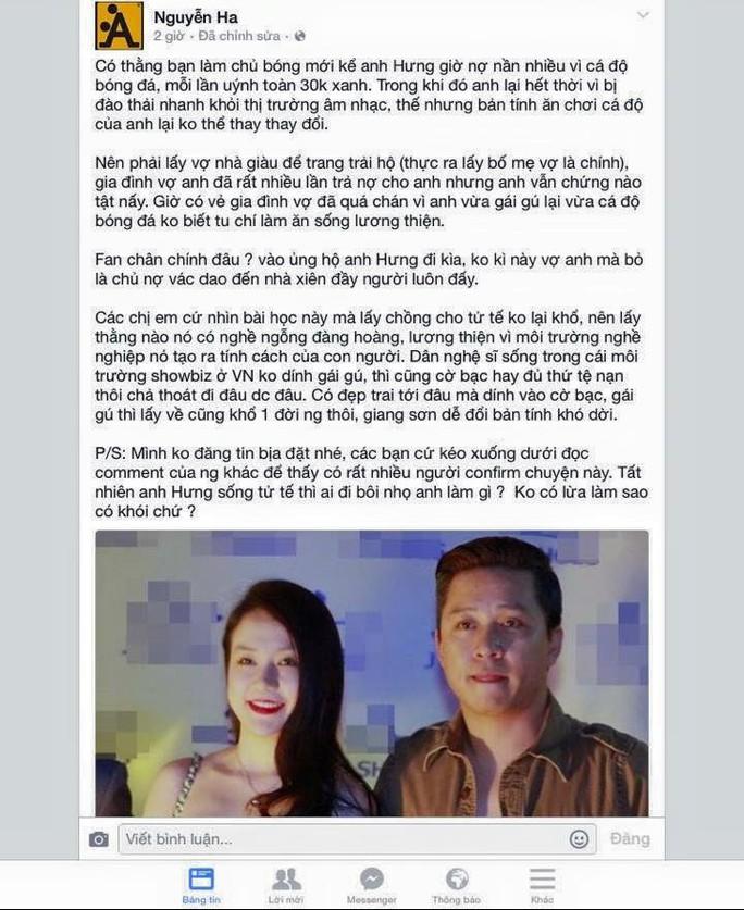Trang Facebook đăng tin đồn về Tuấn Hưng
