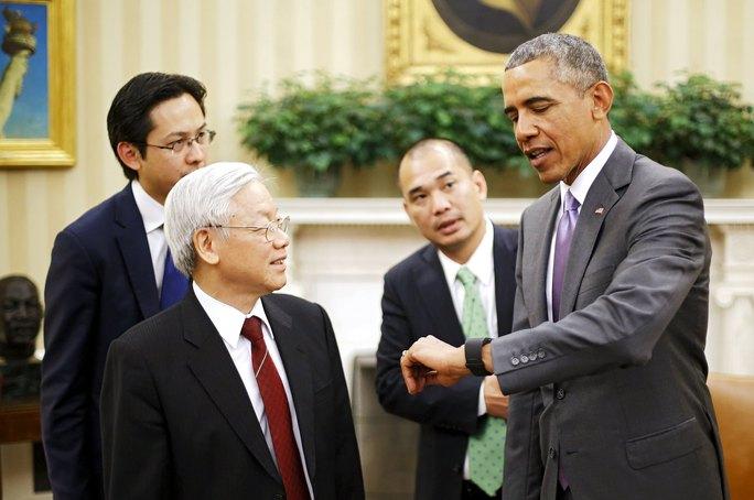 Tổng thống Mỹ Barack Obama đón tiếp Tổng Bí thư Nguyễn Phú Trọng tại phòng Bầu dục trong Nhà Trắng hôm 7-7 Ảnh: Reuters