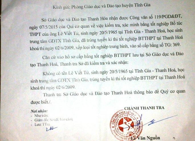Công văn của Sở Giáo dục - Đào tạo tỉnh Thanh Hóa khẳng định bằng cấp ông Tứ đang sử dụng là không hợp lệ