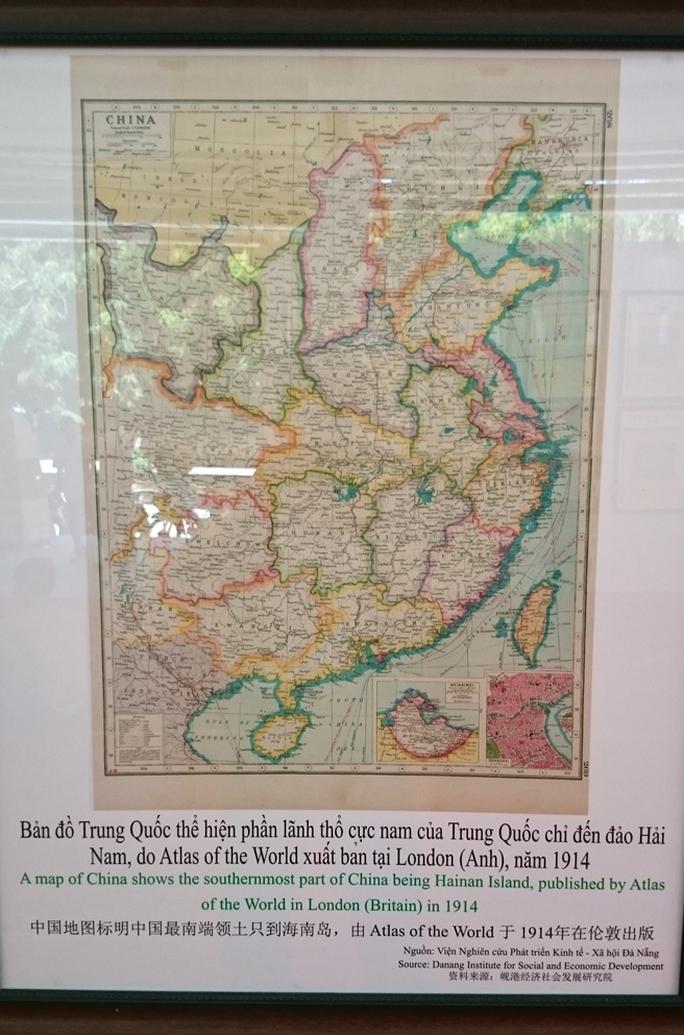 Bản đồ Trung Quốc do Atlas ot the World xuất bản tại London (Anh) vào năm 1914 thể hiện lãnh thổ của nước này chỉ đến đảo Hải Nam, không có Hoàng Sa và Trường Sa