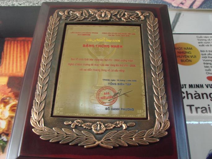 Có cả bằng chứng nhận giải Mai Vàng năm 2008