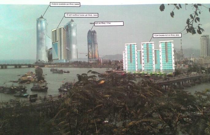 Phối cảnh Công trình Mường Thành Khánh Hòa và tổ hợp vườn treo, khách sạn Phoenix (Tập đoàn Dewan) ảnh hưởng cảnh quan nhìn từ Tháp Bà Ponagar
