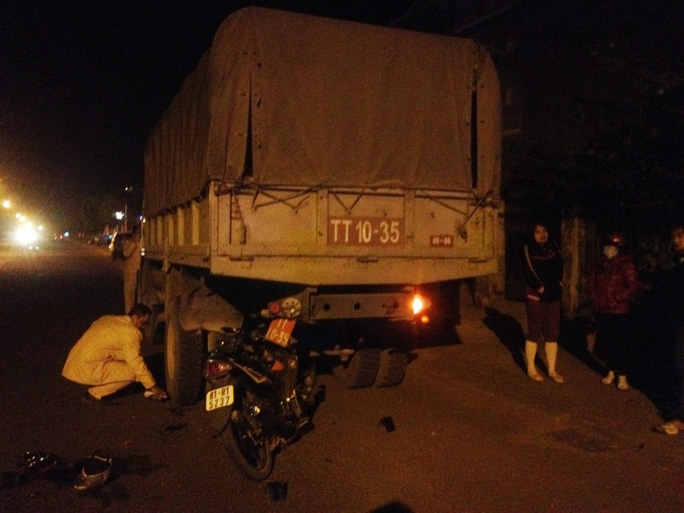 Hiện trường vụ tai nạn làm chị Nguyễn Thị Tường Linh tử vong