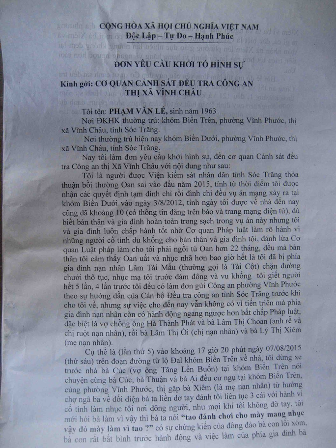 Đơn yêu cầu khởi tố hành vin xúc phạm danh dự, hành hung người khác được ông Lé gửi đến các ngành chức năng