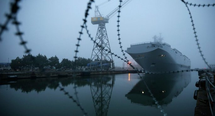 The Mistral-class helicopter carrier Vladivostok is seen at the STX Les Chantiers de lAtlantique shipyard site in Saint-Nazaire