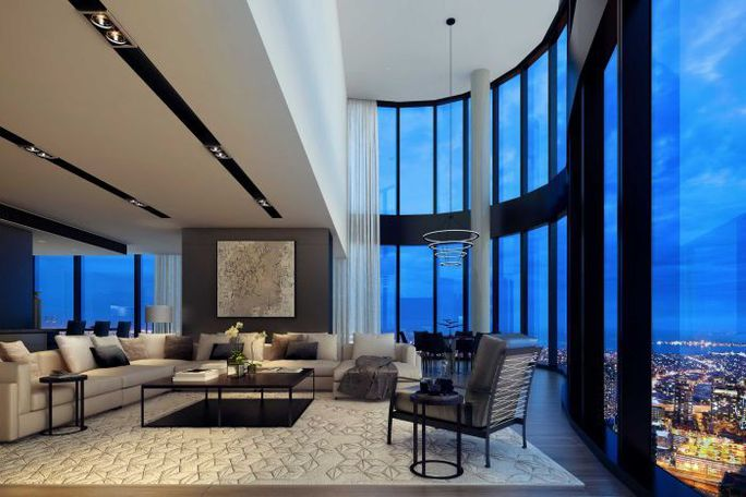 The living area of the penthouse in Australia 108.