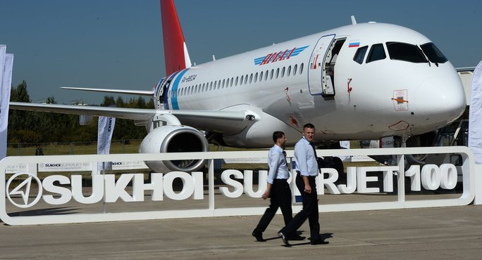 The Sukhoi Superjet 100 presented at the 2015 MAKS air shows opening ceremony in the Moscow suburban town of Zhukovsky