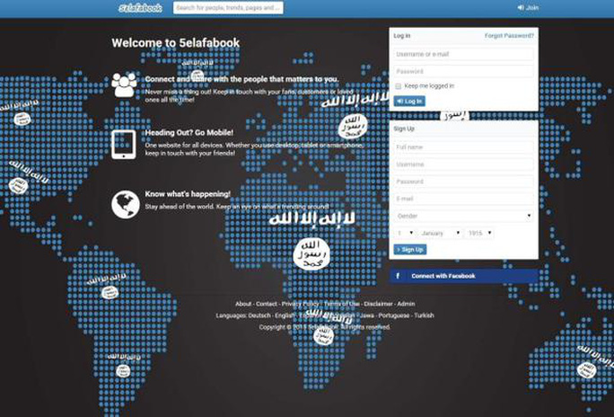 Giao diện trang mạng xã hội Khelafabook Ảnh: RT