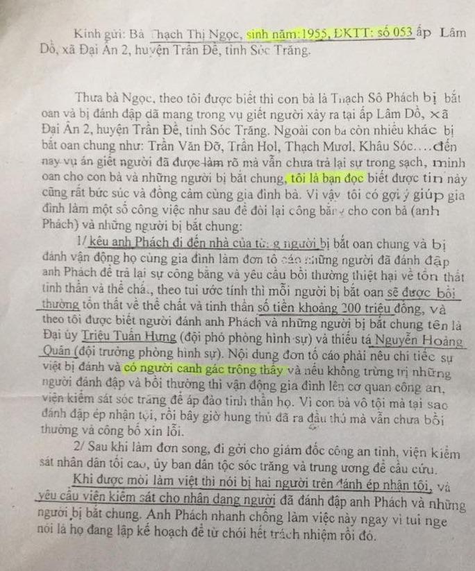 Lá thư của người tốt bụng nêu đích danh 2 ĐTV dùng nhục hình và gửi đến đúng địa chỉ nhà mẹ anh Phách