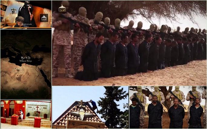 Hình ảnh các con tin bị hành quyết và các tay súng tháo dỡ thánh giá trên nhà thờ. Ảnh: IBtimes