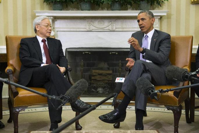 Tổng Bí thư Nguyễn Phú Trọng và Tổng thống Barack Obama hội đàm tại Nhà trắng - Ảnh: AP