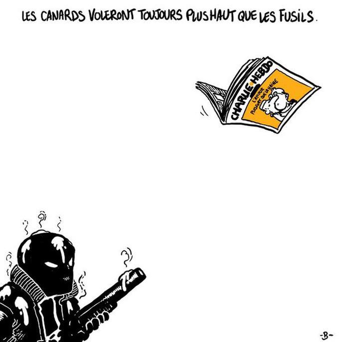 """""""Vịt thường bay cao hơn súng ống (Trong tiếng Pháp, vịt còn là từ lóng để chỉ báo chí)"""