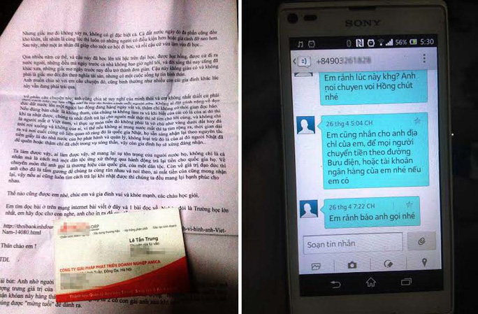 Thư, tin nhắn dồn dập gửi đến chị Hồng để xin tiền
