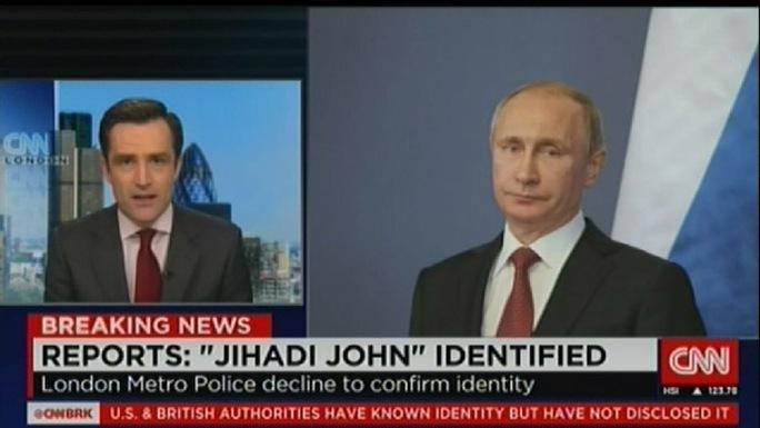 CNN đưa ảnh Putin vào tin về John thánh chiến. Ảnh: chụp màn hình