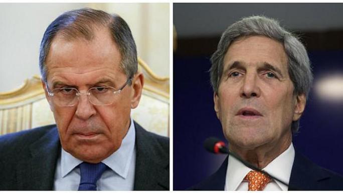 Ngoại trưởng Mỹ John Kerry và Ngoại trưởng Nga Sergei Lavro. Ảnh: Reuters