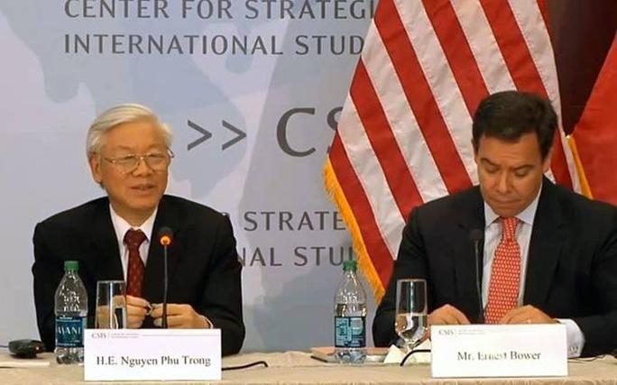 Tổng Bí thư Nguyễn Phú Trọng nói chuyện tại Trung tâm Nghiên cứu chiến lược và quốc tế (CSIS) ở thủ đô Washington D.C. - Ảnh: CSIS