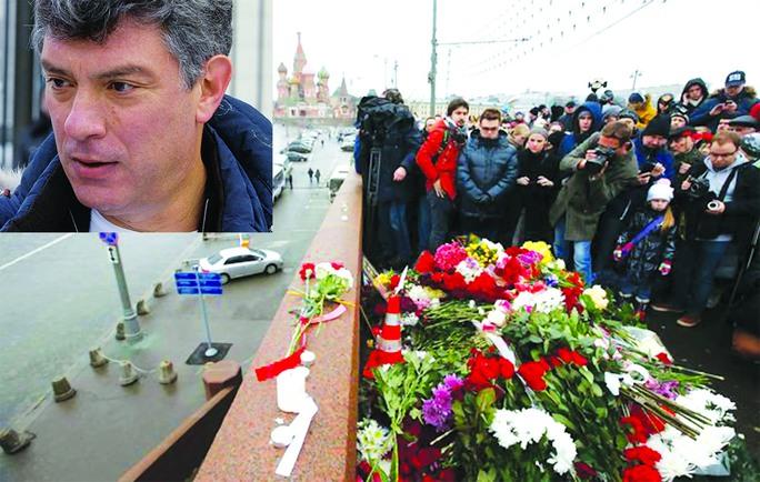 Người dân đặt hoa và cầu nguyện cho Boris Nemtsov gần nơi ông (ảnh nhỏ) bị sát hại Ảnh: REUTERS - RIA NOVOSTI