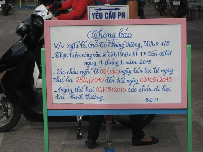 Thông báo nghỉ lễ 6 ngày của một trường mầm non ở quận Ninh Kiều, TP Cần Thơ