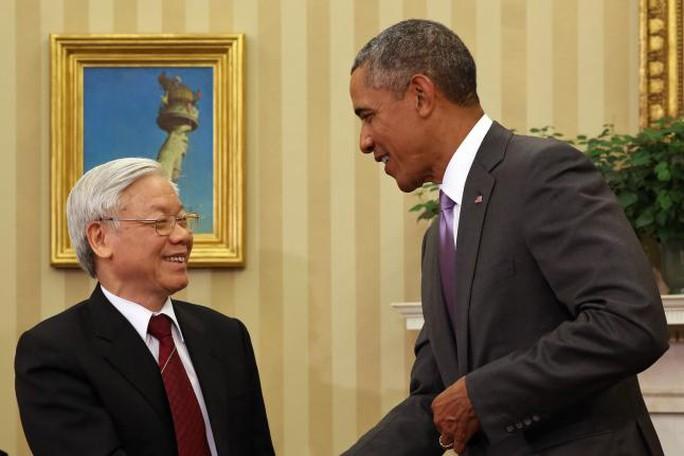 Tổng Bí thư Nguyễn Phú Trọng và Tổng thống Barack Obama tại Phòng Bầu dục của Nhà Trắng
