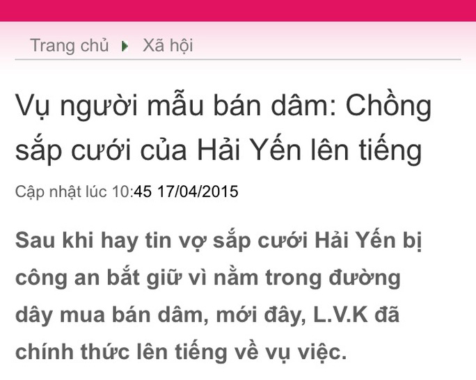 Vụ việc khiến người yêu cô Hải Yến phải lên facebook cho rằng thông tin trên một trang tin dành cho tuổi teen là bịa đặt