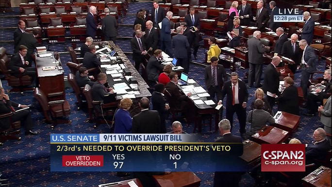 Thượng viện Mỹ bỏ phiếu hôm 28-9. Ảnh: C-SPAN2