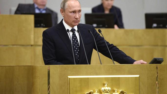 Tổng thống Putin phát biểu tại phiên khai mạc Duma Quốc gia ở Moscow hôm 5-10. Ảnh: SPUTNIK
