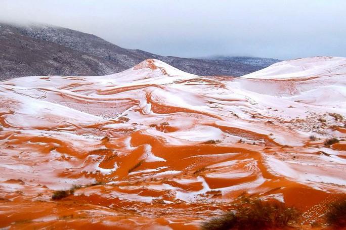 Tuyết rơi ở sa mạc Sahara hôm 20-12. Ảnh: KARIM BOUCHETATA