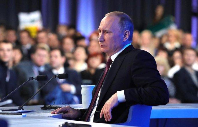 Ông Putin tại cuộc họp thường niên. Ảnh: ĐIỆN KREMLIN