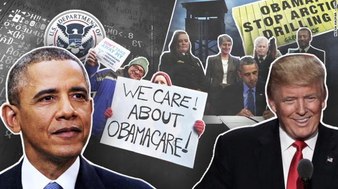 """Tổng thống Obama (trái) đang gấp rút hoàn thành những """"di sản"""" cuối cùng để ông Trump (phải) không thể đảo ngược. Ảnh: CNN"""